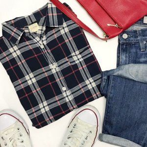 J.CREW Perfect Shirt in Navy Red Plaid